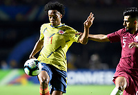 SAO PAULO – BRASIL, 19-06-2019:Juan Cuadrado de Colombia en acción durante partido de la Copa América Brasil 2019, grupo B, entre Colombia y Catar jugado en el Estadio Morumbí de Sao Paulo, Brasil. / Juan Cuadrado of Colombia in action during the Copa America Brazil 2019 group B match between Colombia and Qatar played at Morumbi stadium in Sao Paulo, Brazil. Photos: VizzorImage / Julian Medina / Contribuidor