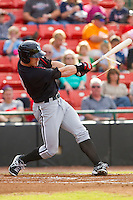 Josh Richmond (13) of the Kannapolis Intimidators follows through on his swing against the Hickory Crawdads at L.P. Frans Stadium on May 25, 2013 in Hickory, North Carolina.  The Crawdads defeated the Intimidators 14-3.  (Brian Westerholt/Four Seam Images)