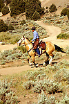Nevada: Near Reno, cowboy, horse, leather chaps, sagebrush..Photo copyright Lee Foster, www.fostertravel.com..Photo #: nvreno105, 510/549-2202, lee@fostertravel.com