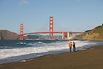 San Francisco: Baker Beach with Golden Gate Bridge in background.  Photo # 2-casanf76427.  Photo copyright Lee Foster