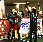 SIOUX FALLS, SD - MAY 4:  Mike Tatum #23 celebrates a touchdown with teammate Blake Wilson #88 from the Sioux Falls Storm against the Nebraska Danger in the second quarter of their game Saturday night at the Sioux Falls Arena. (Photo by Dave Eggen/Inertia)