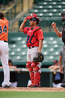 Boston Red Sox catcher Elih Marrero (28) during a Florida Instructional League game against the Baltimore Orioles on October 8, 2018 at the Ed Smith Stadium in Sarasota, Florida.  (Mike Janes/Four Seam Images)