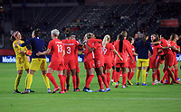 CARSON, CA - FEBRUARY 07: Stephanie Labbe #1, Kailen Sheridan #18, Sophie Schmidt #13, Kadeisha Buchanan #3, Ashley Lawerance #10 and Canada celebrate their win over Costa Rica and book a trip to the 2020 Tokyo Olympics during a game between Canada and Costa Rica at Dignity Health Sports Park on February 07, 2020 in Carson, California.