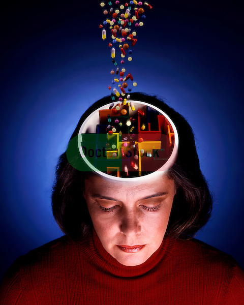 abstract photo illustration of pills being poured into compartmentalized brain of middle aged woman