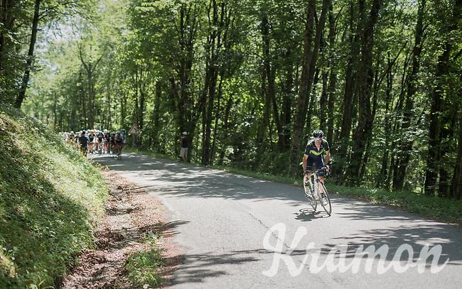 Alejandro Valverde (ESP/Movistar) breaking free from the peloton &amp; trying to close the gap with the front riders further up the Mont du Chat (HC/1504m/8.7km/10.3%)<br /> <br /> Stage 6: Le parc des oiseaux/Villars-Les-Dombes &rsaquo; La Motte-Servolex (147km)<br /> 69th Crit&eacute;rium du Dauphin&eacute; 2017