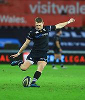 Man of the Match Ospreys' Dan Biggar kicks a conversion.<br /> <br /> Photographer Dan Minto/CameraSport<br /> <br /> Guinness Pro14 Round 13 - Ospreys v Cardiff Blues - Saturday 6th January 2018 - Liberty Stadium - Swansea<br /> <br /> World Copyright &copy; 2018 CameraSport. All rights reserved. 43 Linden Ave. Countesthorpe. Leicester. England. LE8 5PG - Tel: +44 (0) 116 277 4147 - admin@camerasport.com - www.camerasport.com