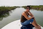 Boating through the mangrove channels near Cudjoe Bay.