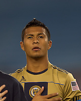 Philadelphia Union defender Michael Orozco Fiscal (16). The Philadelphia Union defeated New England Revolution, 2-1, at Gillette Stadium on August 28, 2010.