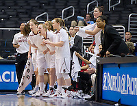 LOS ANGELES, CA - March 10, 2012: Stanford University woman's basketball team cheers their teammates against Cal during the PAC 12 Woman's Basketball Championship Game at the Staples Center in Los Angeles California. Final score Stanford won 77-62.