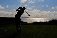 Ronan Mullarney (Galway) on the 17th tee during the Final of the AIG Irish Amateur Close Championship 2019 in Ballybunion Golf Club, Ballybunion, Co. Kerry on Wednesday 7th August 2019.<br /> <br /> Picture:  Thos Caffrey / www.golffile.ie<br /> <br /> All photos usage must carry mandatory copyright credit (© Golffile | Thos Caffrey)