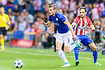 Jamie Vardy (2nd from left) of Leicester City fights for the ball with Juan Francisco Torres Belen, Juanfran, of Atletico de Madrid during their 2016-17 UEFA Champions League Quarter-Finals 1st leg match between Atletico de Madrid and Leicester City at the Estadio Vicente Calderon on 12 April 2017 in Madrid, Spain. Photo by Diego Gonzalez Souto / Power Sport Images
