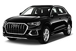 2019 Audi Q3 Advanced 5 Door SUV Angular Front stock photos of front three quarter view