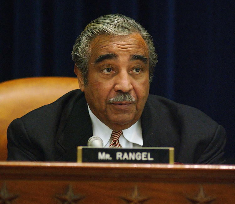 2/4/03.FISCAL 2004 BUDGET TAX PROPOSALS--Ranking Democrat Charles B. Rangel, D-N.Y., during the House Ways and Means hearing with Treasury Secretary John W. Snow on the Bush administration's fiscal 2004 budget proposal and the tax cuts it includes..CONGRESSIONAL QUARTERLY PHOTO BY SCOTT J. FERRELL