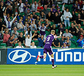 2nd February 2019, HBF Park, Perth, Australia; A League football, Perth Glory versus Wellington Phoenix; Andy Keogh of the Perth Glory celebrates his goal in the 64th minute to give Glory a 3-0 lead