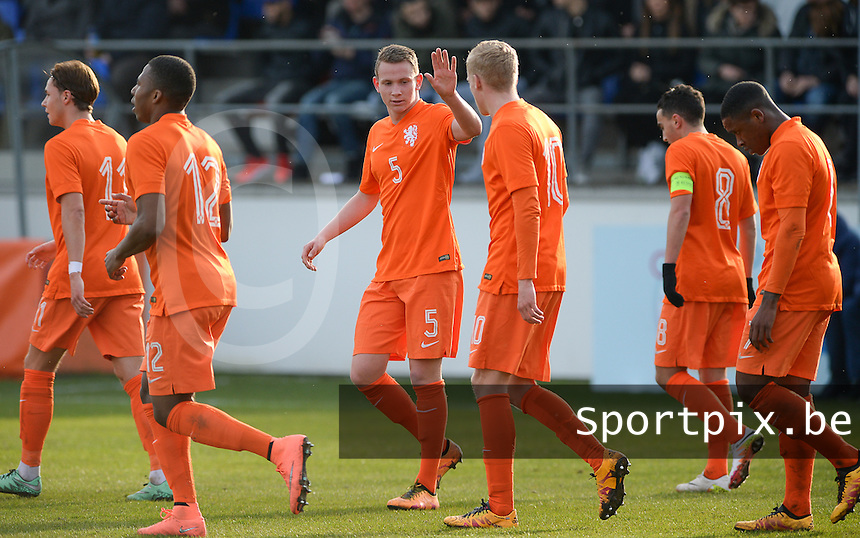 20160326  - Uden , NETHERLANDS : Dutch Julian Lelieveld pictured celebrating the 1-0 lead with his team during the soccer match between the under 19 teams of The Netherlands and Northern Ireland , on the second matchday in group 4 of the UEFA Under19 Elite rounds in Uden , Netherlands. Saturday 26 th March 2016 . PHOTO DAVID CATRY