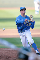 David Berg #26 of the UCLA Bruins pitches against the Baylor Bears at Jackie Robinson Stadium on February 25, 2012 in Los Angeles,California. UCLA defeated Baylor 9-3.(Larry Goren/Four Seam Images)