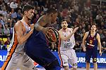 Turkish Airlines Euroleague 2017/2018.<br /> Regular Season - Round 8.<br /> FC Barcelona Lassa vs Valencia Basket: 89-71.<br /> Tibor Pleiss vs Kevin Seraphin.