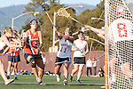 Santa Barbara, CA 02/13/10 - A Pepperdine player and Brigitte Brierley (Chico State #11) in action during the Chico State-Pepperdine game at the 2010 Santa Barbara Shoutout, Chico State defeated Pepperdine 14-9.