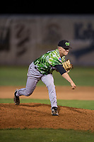 Eugene Emeralds relief pitcher Riley McCauley (23) follows through on his delivery during a Northwest League game against the Salem-Keizer Volcanoes at Volcanoes Stadium on August 31, 2018 in Keizer, Oregon. The Eugene Emeralds defeated the Salem-Keizer Volcanoes by a score of 7-3. (Zachary Lucy/Four Seam Images)