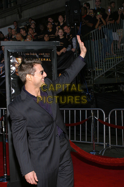 TOM CRUISE .At the Collateral Premiere, held at the Orpheum Theatre, Los Angeles, CA, USA,.2nd August 2001.half length sunglasses waving.**UK SALES ONLY**.Ref:JW-ADM.www.capitalpictures.com.sales@capitalpictures.com.©Capital Pictures.