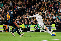Real Madrid's Marco Asensio and Valencia CF's Daniel Parejo during La Liga match between Real Madrid and Valencia CF at Santiago Bernabeu Stadium in Madrid, Spain. December 01, 2018. (ALTERPHOTOS/A. Perez Meca) /NortePhoto NORTEPHOTOMEXICO