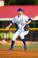 Burlington Royals relief pitcher Eric Sandness (37) in action against the Greeneville Astros at Burlington Athletic Park on June 30, 2014 in Burlington, North Carolina.  The Royals defeated the Astros 9-8. (Brian Westerholt/Four Seam Images)
