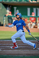 Ronny Brito (5) of the Ogden Raptors bats against the Orem Owlz at Lindquist Field on June 26, 2018 in Ogden, Utah. The Raptors defeated the Owlz 6-5. (Stephen Smith/Four Seam Images)