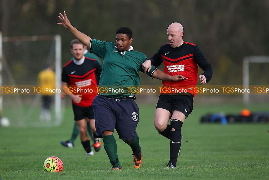 FC Stepney (red/black) vs Football Club 22, Hackney & Leyton Sunday League Dickie Davies Cup Football at Hackney Marshes, Hackney, England on 15/11/2015