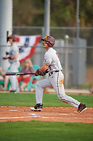 Minnesota Golden Gophers first baseman Micah Coffey (8) at bat during a game against the Boston College Eagles on February 23, 2018 at North Charlotte Regional Park in Port Charlotte, Florida.  Minnesota defeated Boston College 14-1.  (Mike Janes/Four Seam Images)