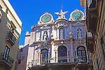 Ornate frontage of baroque Palazzo Senatorio in Trapani, Sicily, Italy