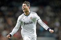 Real Madrid's Cristiano Ronaldo celebrates during La Liga Match. December 01, 2012. (ALTERPHOTOS/Alvaro Hernandez)