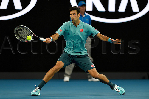January 17th 2017, Melbourne Park, Melbourne, Australia;  Novak Djokovic (SRB) during his win over Fernando Verdasco (ESP) today in  round 1,  2017 Australian Open Tennis Grand Slam tournament