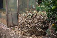 compost pile in sustainable backyard vegetable garden