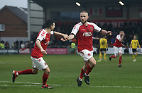 Fleetwood Town's Paddy Madden (right) celebrates scoring his side's second goal with team-mate Jason Holt<br /> <br /> Photographer Rich Linley/CameraSport<br /> <br /> The EFL Sky Bet League One - Fleetwood Town v Oxford United - Saturday 12th January 2019 - Highbury Stadium - Fleetwood<br /> <br /> World Copyright &copy; 2019 CameraSport. All rights reserved. 43 Linden Ave. Countesthorpe. Leicester. England. LE8 5PG - Tel: +44 (0) 116 277 4147 - admin@camerasport.com - www.camerasport.com