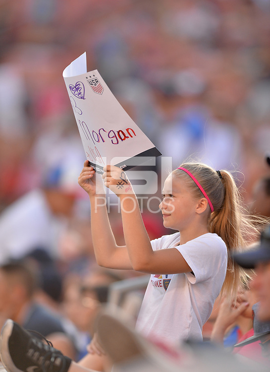 Sandy, Utah - Thursday June 07, 2018: USA fans, Alex Morgan during an international friendly match between the women's national teams of the United States (USA) and China PR (CHN) at Rio Tinto Stadium.
