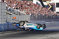 Nov 14, 2010; Pomona, CA, USA; NHRA comp eliminator driver Steve Kent crashes during the Auto Club Finals at Auto Club Raceway at Pomona. Mandatory Credit: Mark J. Rebilas-