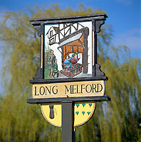 Great Britain, England, Suffolk, Long Melford: Town Sign | Grossbritannien, England, Suffolk, Long Melford: Ortsschild