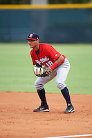 Brevard County Manatees first baseman Fidel Pena (18) during a game against the Lakeland Flying Tigers on August 8, 2016 at Henley Field in Lakeland, Florida.  Lakeland defeated Brevard County 6-2.  (Mike Janes/Four Seam Images)