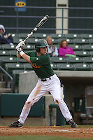 George Mason infielder Jordan Hill #31 at bat during a game against the West Virginia Mountaineers at BB&T Coastal Field on February 26, 2012 in Myrtle Beach, SC.  George Mason defeated West Virginia 1-0. (Robert Gurganus/Four Seam Images)