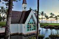 Wailea Seaside Chapel at sunrise. Maui, Hawaii.