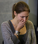 Amanda Knox breaks down during a news conference held  at the Seattle-Tacoma International Airport near Seattle, Washington on October 4, 2011. Knox arrived in the United States after departing Rome's Leonardo da Vinci airport,. Knox's life turned around dramatically Monday when an Italian appeals court threw out her conviction in the sexual assault and fatal stabbing of her British roommate. ©2011. Jim Bryant Photo. All Rights Reserved.