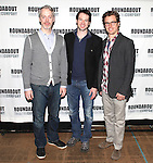 Tim McGeever, Kieran Campion and Lucas Near-Verbrugghe.attending the Meet & Greet for the Roundabout Theatre Company's Off-Broadway Production of 'The Common Pursuit' at their Rehearsal Studios in New York on 4/6/2012.