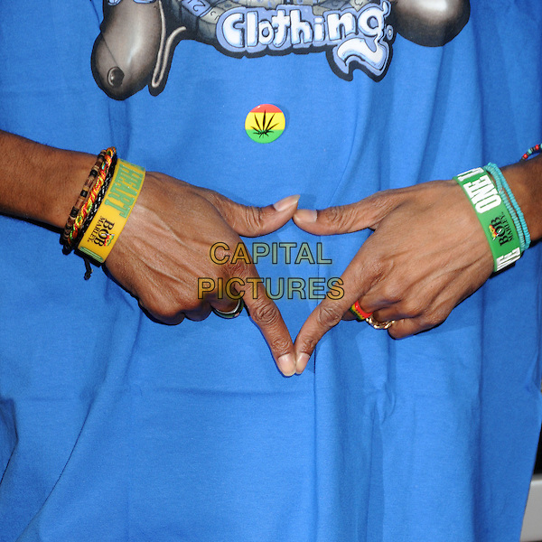 "Snoop Dogg's hands (Calvin Cordozar Broadus, Jr.).""Marley"" Los Angeles Premiere held at Arclight Cinemas, Hollywood, California, USA..April 17th, 2012.blue detail bracelets hands fingers .CAP/ADM/BP.©Byron Purvis/AdMedia/Capital Pictures."