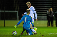 Monday 16 January 2017<br /> Pictured: Oli McBurnie Swansea City scores for Swansea <br /> Re: During the Swansea City U23's match against Newcastle United U23's at the Landore Training facility, Swansea Wales UK