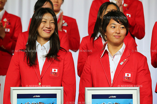 (L to R) Aya Terakawa (JPN), Satomi Suzuki (JPN), .September 27, 2012 - Swimming : .Celebration party of London Olympic Japan National Team .in Tokyo, Japan. .(Photo by Daiju Kitamura/AFLO SPORT)