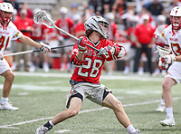 College Park, MD - April 22, 2018: Ohio State Buckeyes Hank Bethke (28) attempts a shot during game between Ohio St. and Maryland at  Capital One Field at Maryland Stadium in College Park, MD.  (Photo by Elliott Brown/Media Images International)