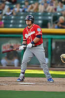 Dan Vogelbach (33) of the Tacoma Rainiers at bat against the Salt Lake Bees in Pacific Coast League action at Smith's Ballpark on July 22, 2016 in Salt Lake City, Utah. The Rainiers defeated the Bees 8-3. (Stephen Smith/Four Seam Images)