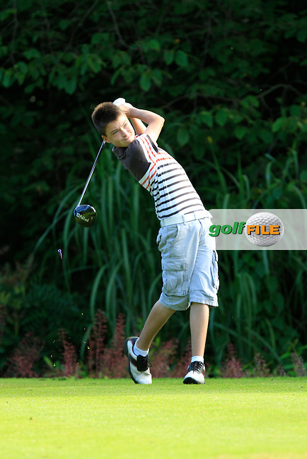 Jack Joyce (Greystones) on the 1st tee during Round 1 of the Grange Dublin Boys on Monday 21th July 2014.<br /> Picture:  Thos Caffrey / www.golffile.ie