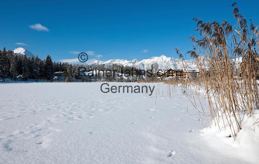 Austria, Tyrol, international Wintersport Resort Seefeld: frozen Wild Lake and Wetterstein mountains