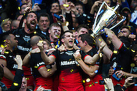 Richard Wigglesworth of Saracens celebrates with team-mates. European Rugby Champions Cup Final, between Saracens and Racing 92 on May 14, 2016 at the Grand Stade de Lyon in Lyon, France. Photo by: Patrick Khachfe / Onside Images